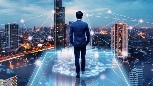Business man on future network city, fast growing technology concept