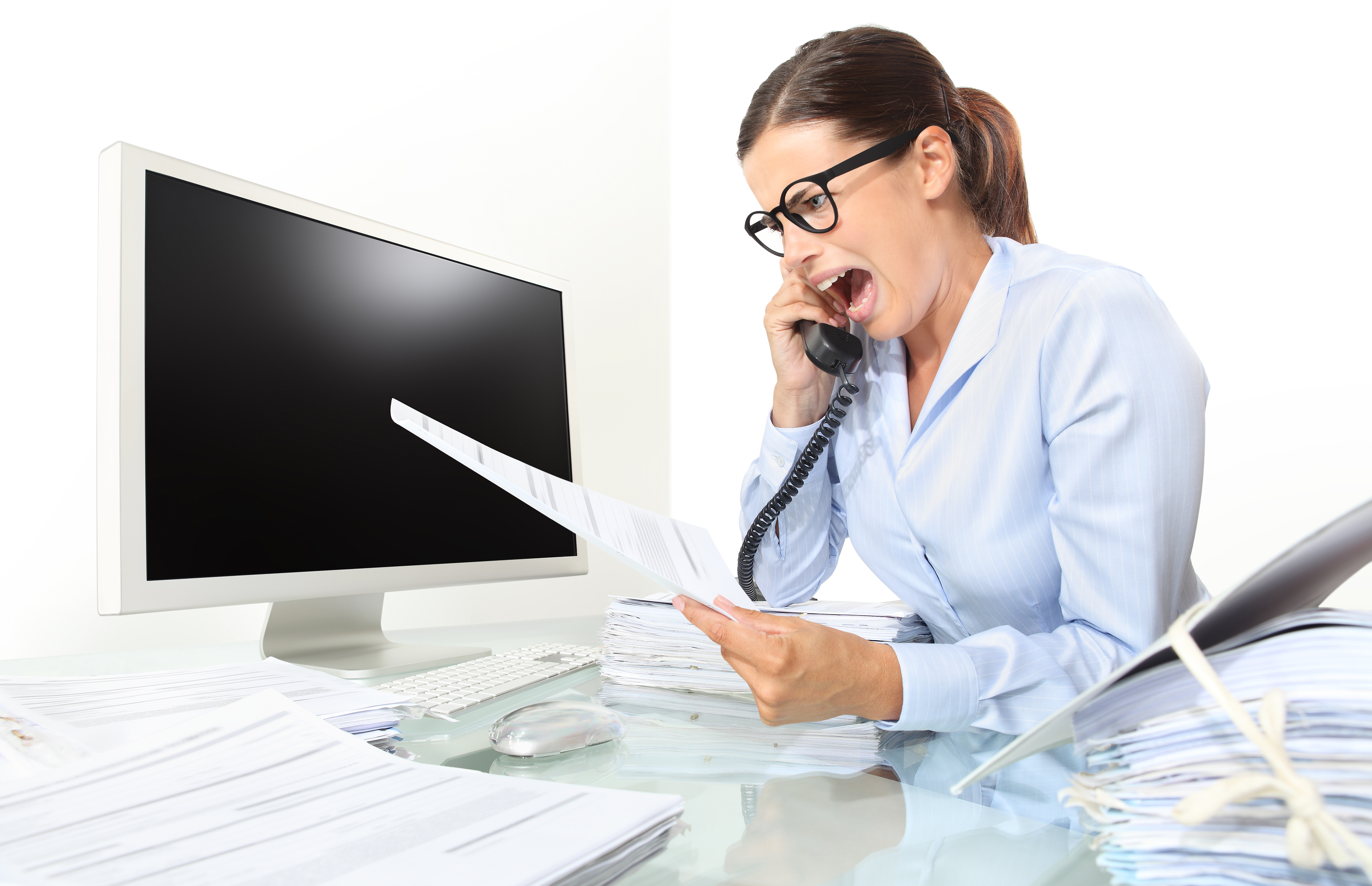 Woman surprised as she speaks into telephone, bad debt concept