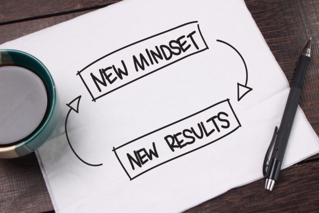 New mindset = new results handwritten on paper