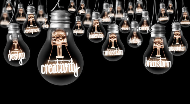 hanging lightbulbs with words such as creativity, innovation, brainstorm in filament