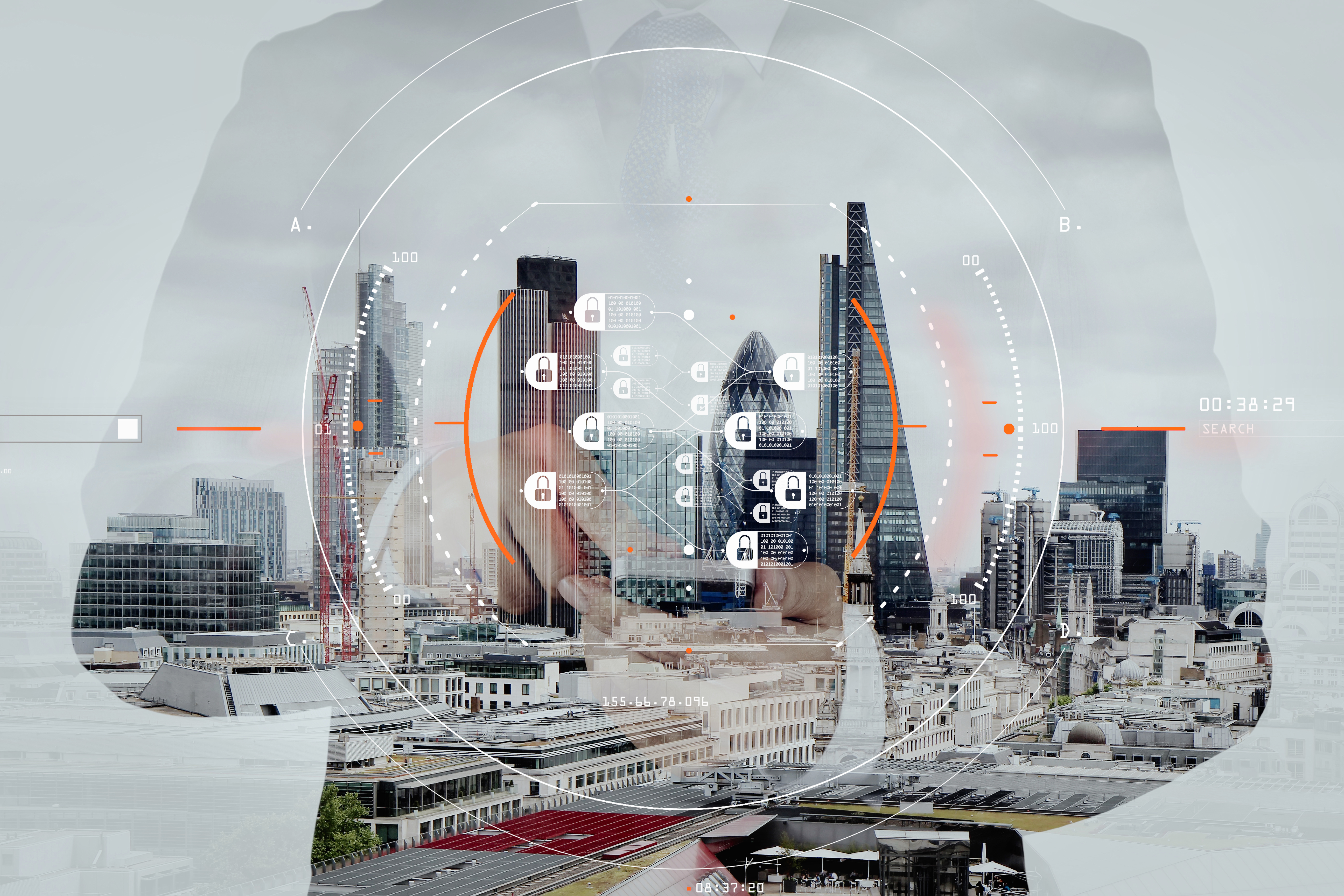Double exposure of success businessman using smart phone and social media diagram with london city blurred background, Deloitte UK Technology Fast 50 concept