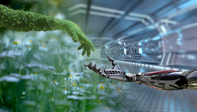 Green technology conceptual design, human arm covered with grass and lush and robotic hand, Vala concept