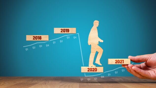 illustration of man climbing staircase of years 2018 to 2021, mid-sized businesses concept