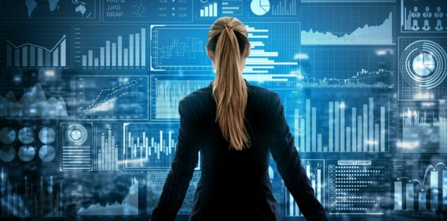 Young woman facing computer screen, small business equity investment concept
