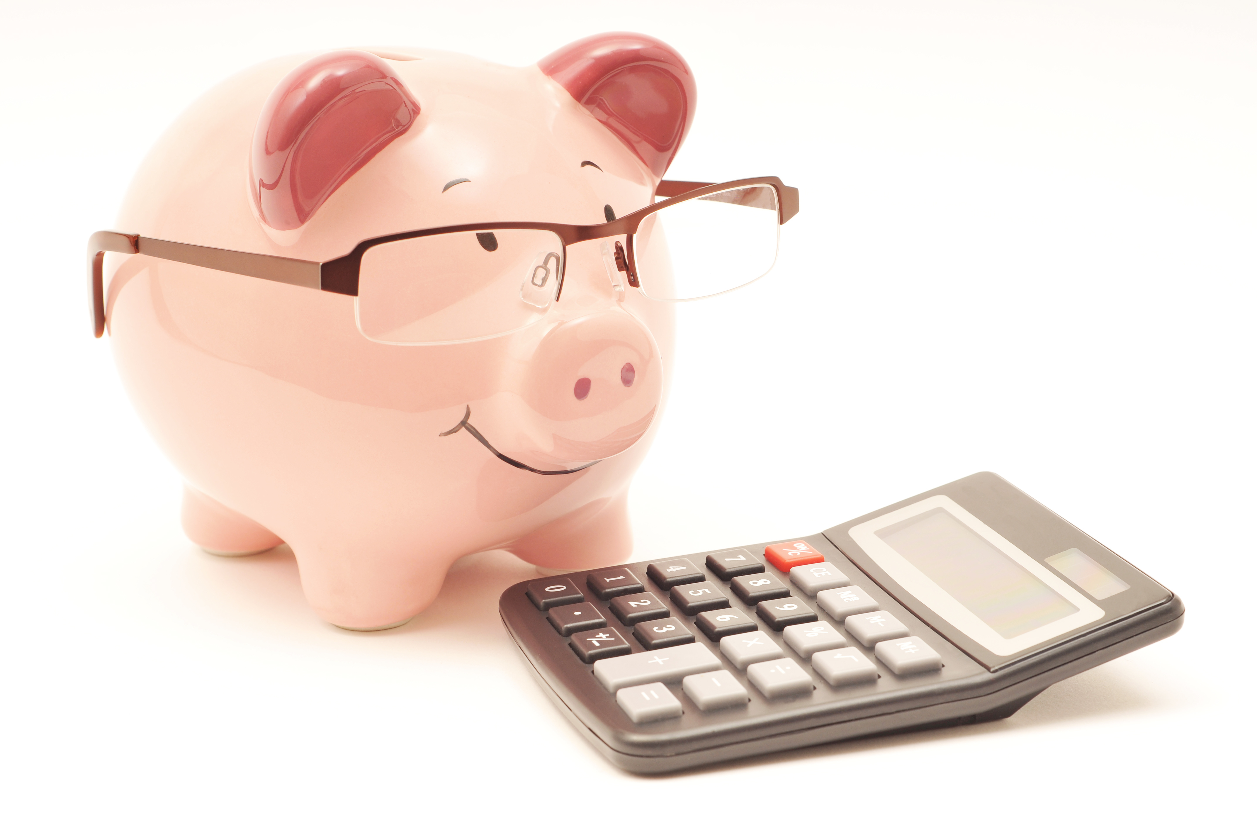 Pink piggy bank with calculator, save money concept