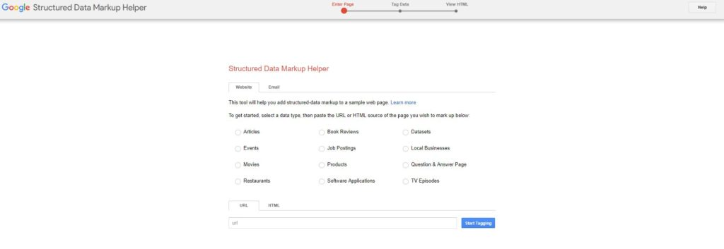 The first screen you'll see on Google Structured Data Markup Helper