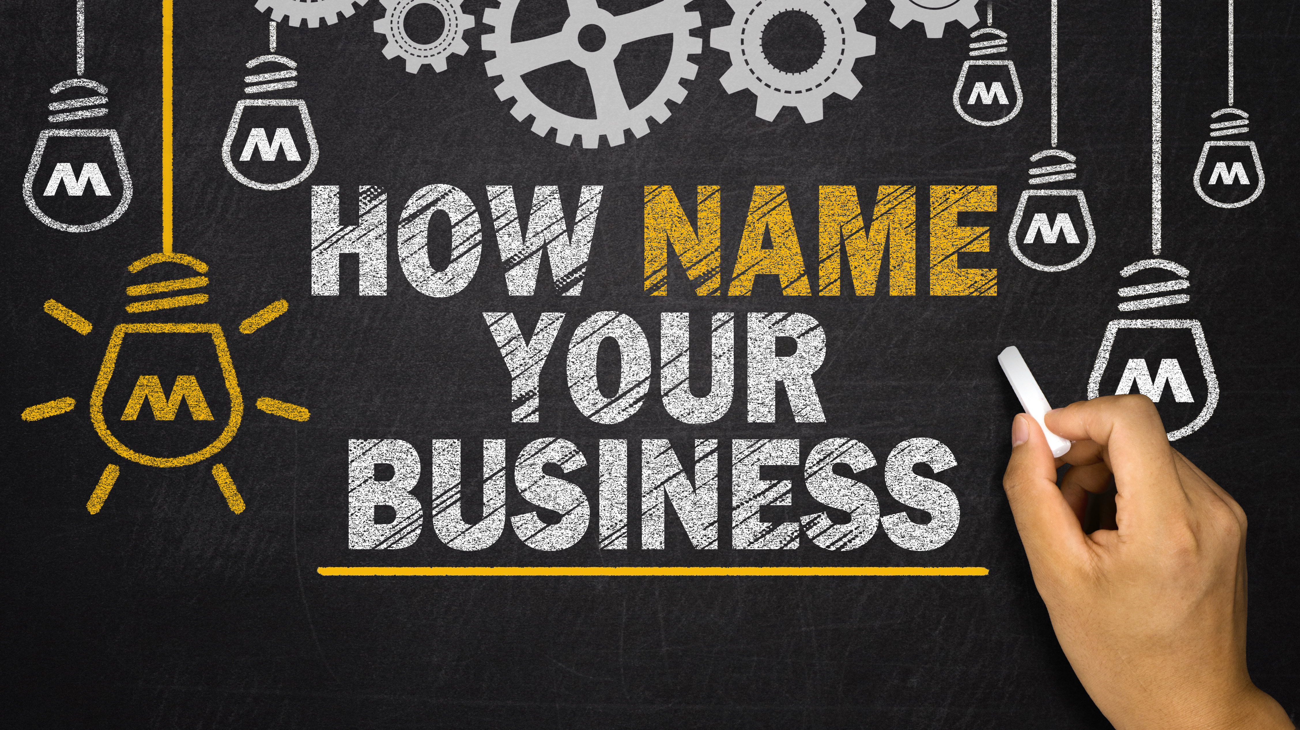 How to Name Your Business written on blackboard