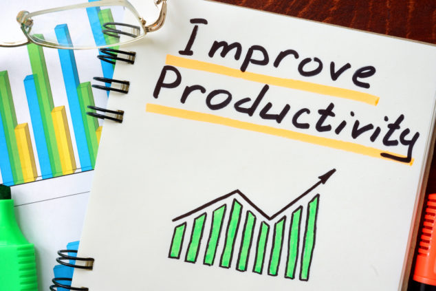 Improve Productivity written in a notepad. Productivity gaps concept