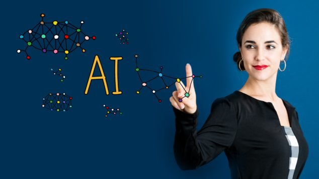 AI text with business woman, Salesforce AI concept