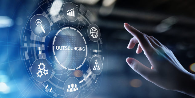 Outsourcing concept on virtual screen