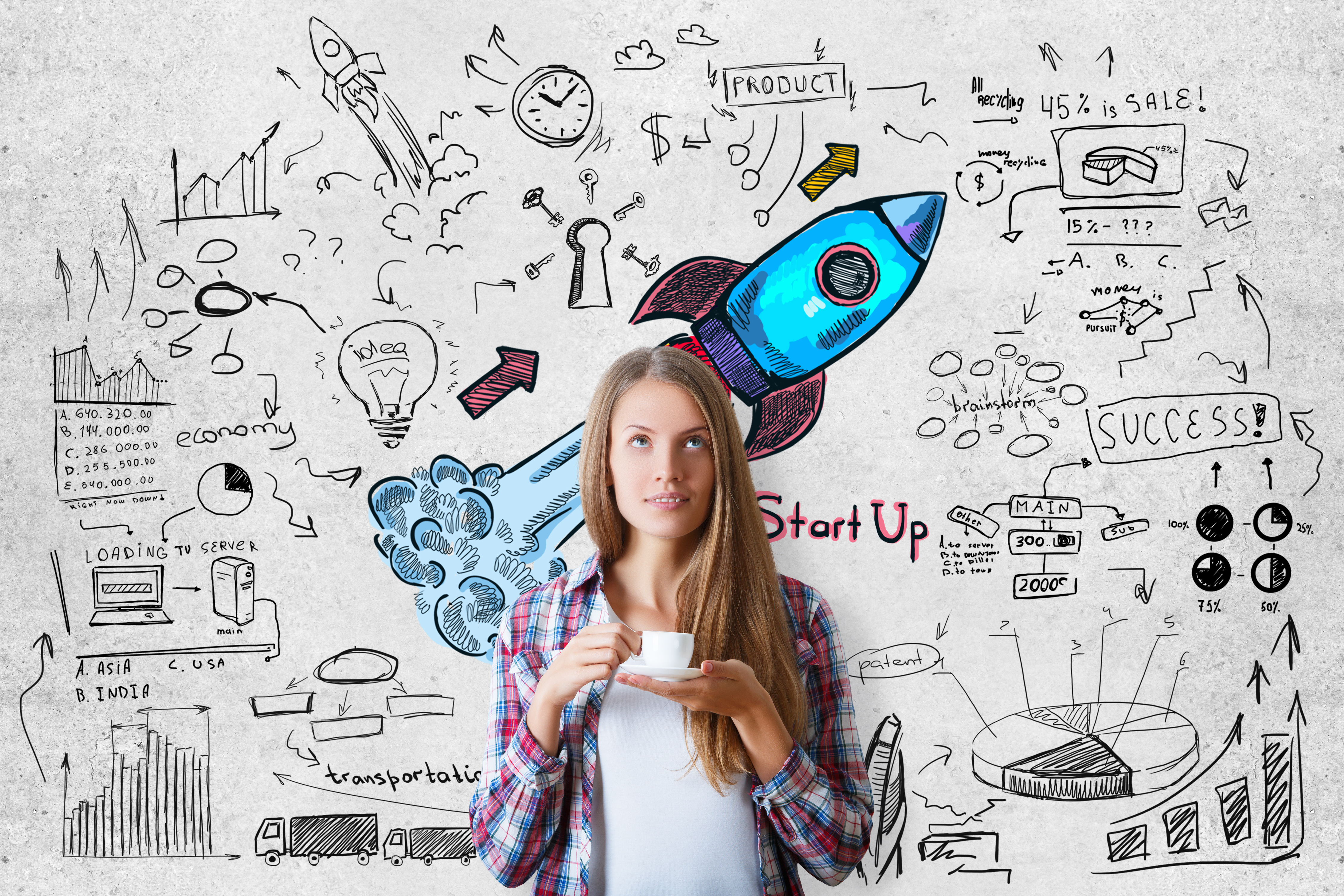 Young European woman drinking coffee on concrete background with colorful launching rocket sketch. Registering a company name concept