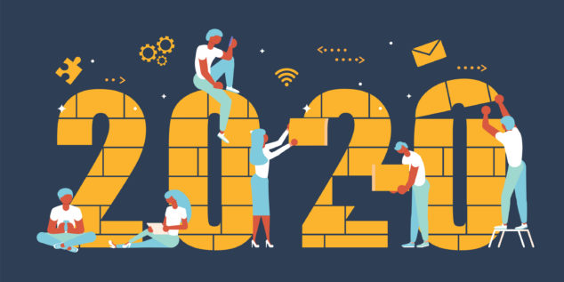 Graphic showing people building 2020, GoDaddy challenge concept