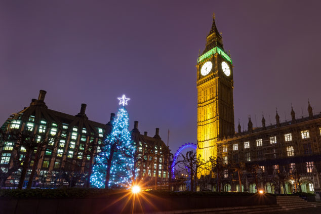 Nighttime View of the Christmas Tree Outside the Palace of Westminster, Conservative business reform concept