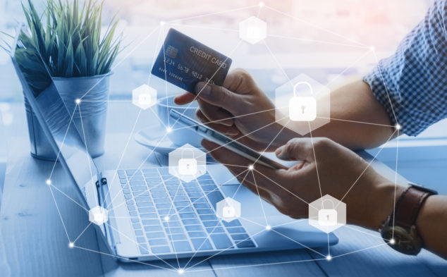 Credit card data security unlock payment shopping online on smartphone, strong customer authentication requirements concept