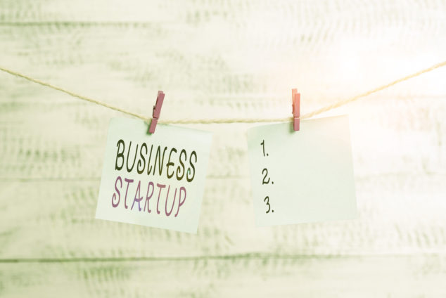 Text sign showing Business Starrtup on clothesline, company formations concept