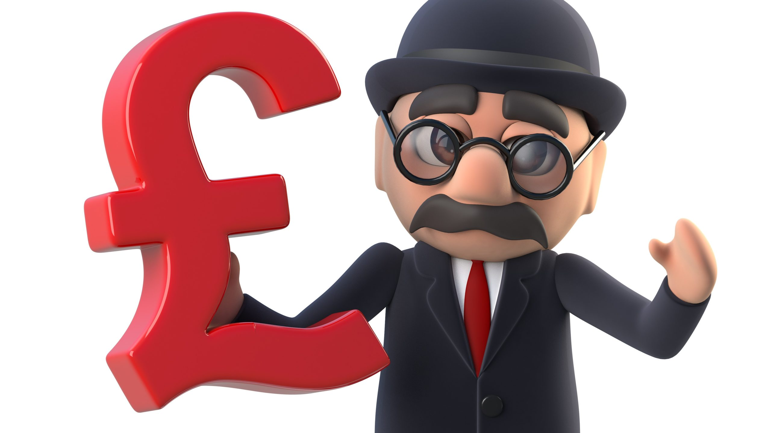 3d render of a bowler hatted British businessman holding UK pound symbol, taxman IR35 concept