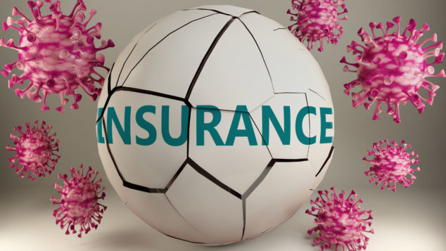 Covid-19 and insurance, symbolized by viruses destroying word insurance to picture that coronavirus pandemic affects insurance in a very negative way, 3d illustration, small business insurance coronavirus concept