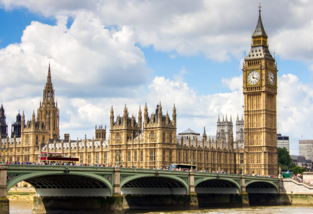 Parliament Westminster view, Budget 2020 small business concept