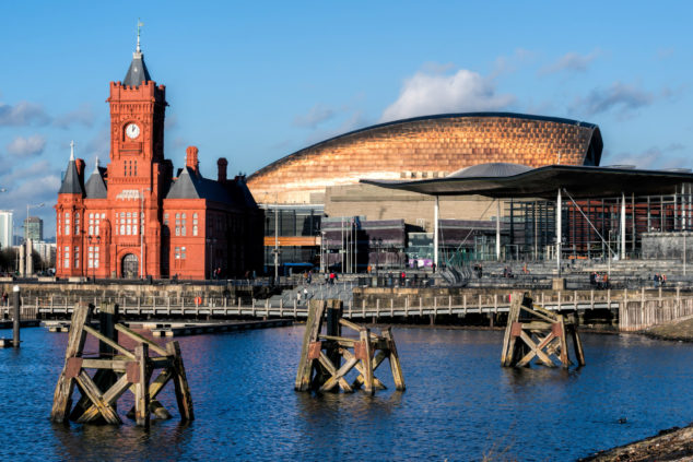 Pierhead and Millenium Centre buildings Cardiff Bay, Economic Resilience Fund concept
