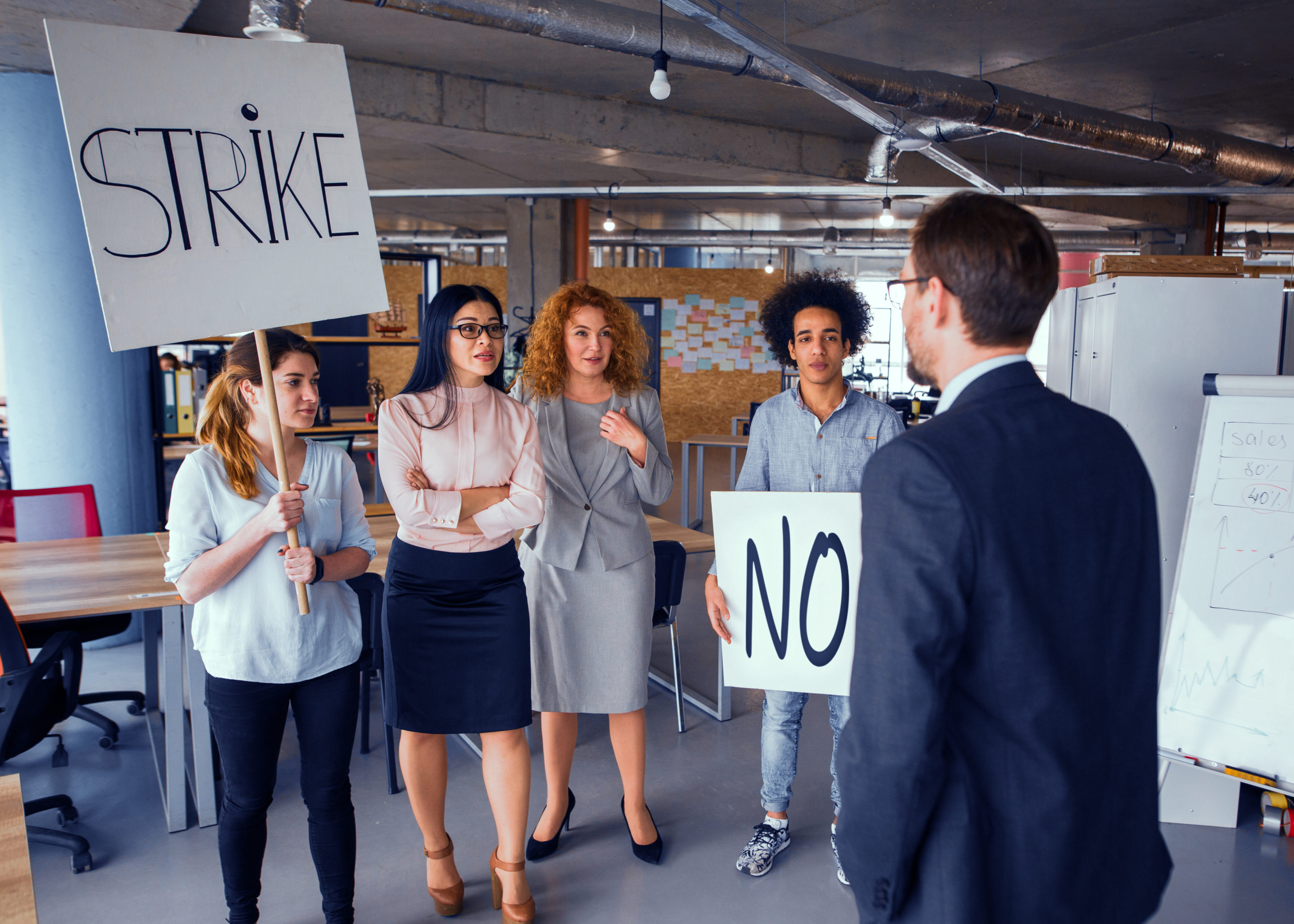 workers on strike, confronting manager, commercial rent freeze concept