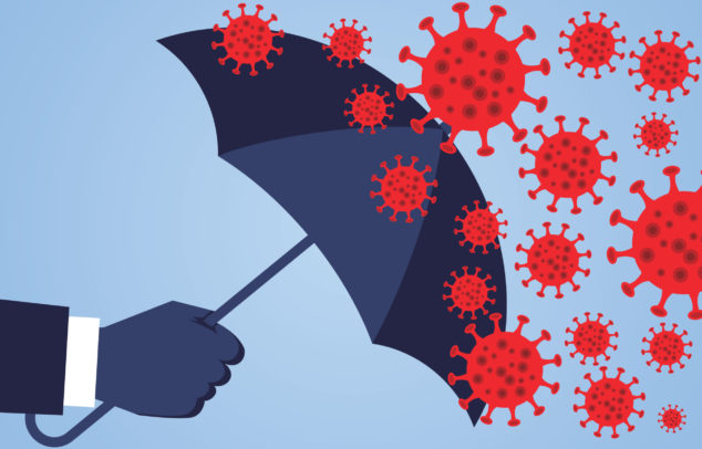 umbrella warding off coronavirus, remote working insurance concept