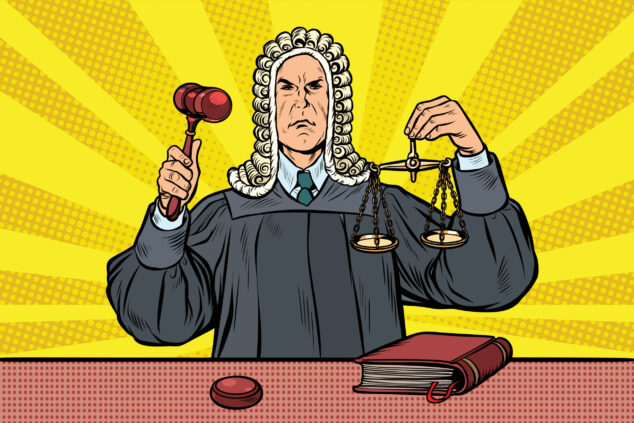 judge with a hammer. scales of justice, insurers Covid concept