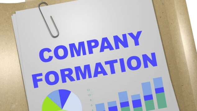 Words 'company formation' written on document, companies created concept