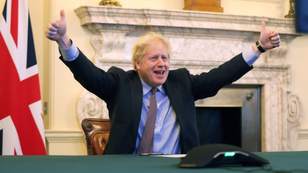 Boris Johnson celebrates the completion of the Brexit Deal, the Brexit Deal concept for small businesses