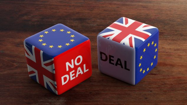 Brexit deal/no deal dice, three-month transition period concept