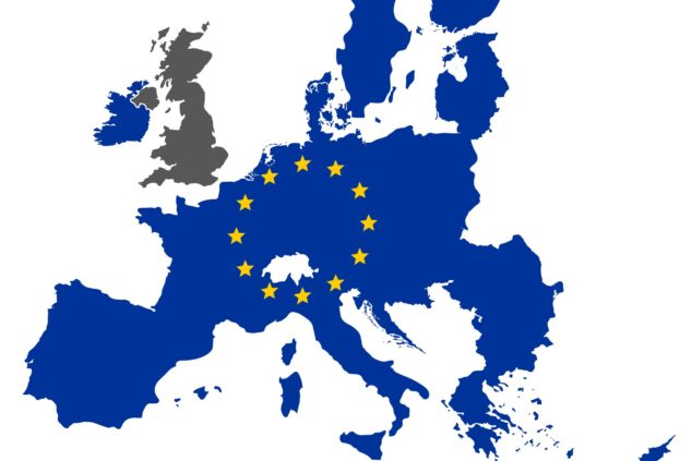 European map with EU states in blue, Britain in grey, VAT registration concept