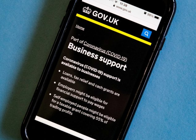 Smartphone with government business support home screen, banks Bounce Back Loans concept