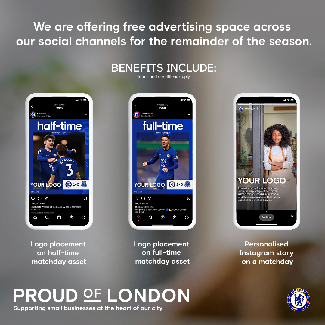 Apply for free ad space with Chelsea FC